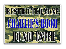 KIDS PERSONALISED NAME DOOR SIGN / PLAQUE UNISEX BOY GIRL CHILD CAMO ARMY