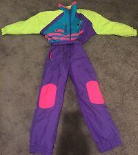 Vtg 80's TYROLIA Neon Color Block One Piece Women's Ski Suit Bib Showsuit Large