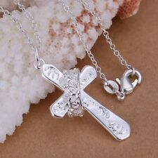 """Womens 925 Sterling Silver Crown Ring Cross Pendant Necklace 18"""" Link Chain"""