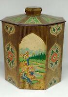 RARE Vintage Soviet Empty Tin Tea Box 100g Tea-Packing Factory Moscow USSR 1950s