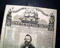 Rare BATTLESHIP Ornate Masthead Gleason's Pictorial PRINTS 1859 Old Newspaper