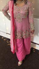 Heavily embellished Pakistani short frock/peplum dress with shararah pants
