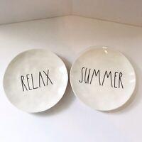 "Rae Dunn by Magenta Melamine 8"" Salad Plates Set of 2: RELAX - SUMMER"
