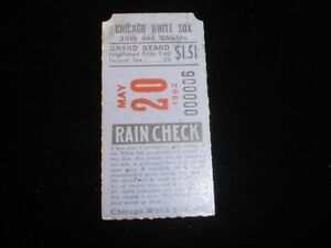 May 20, 1962 Baltimore Orioles @ Chicago White Sox Ticket Stub EX