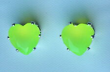 Yellow Faceted Glass Claw Set Silver Tone Heart Stud Earring - 8 x 8mm
