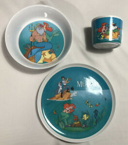 The Little Mermaid - Vintage Disney Zak Designs - Dish Collectors Set With Cup