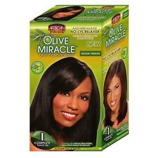 African Pride Olive Miracle Conditioning No-Lye Relaxer - Regular Kit 1 ea 9pk