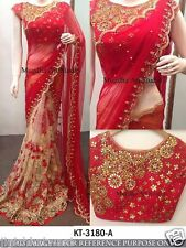 INDIAN ETHNIC BOLLYWOOD RED BRIDAL DESIGNER HALF HALF EXCLUSIV BORDER SAREE SARI