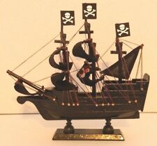 WOODEN MODEL BLACK PIRATE SHIP NAUTICAL JOLLY ROGER