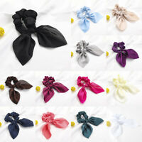 Satin Rabbit Ears Scrunchie Ponytail Holder Women Multicolor Hair Ring Rope Ties