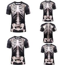 Mens 3D Skeleton Bone Print Halloween Tee Stylish Casual T-shirt Fit Tops XL-3XL