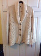 FREE PEOPLE Women's Beige Button-Down Wool Knit Long Sleeve Tunic Sweater XS