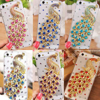 3D Bling Crystal Diamond Peacock Hard Back Cover Case For Various Cell Phone