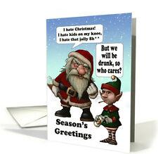 Bad Santa Humor Navidad, con la tarjeta de elfo y Santa borracho-Naughty Santa