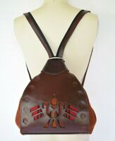 Vtg Tooled Leather Sling chimayo Wool Inca thunderbird Aztec Backpack Bag
