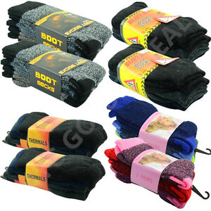 12 Pairs Mens Heavy Duty Winter Warm Work Boots Wool Feel Crew Socks Size (5-15)
