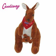 Red Australia flag scarf brown Mother Kangaroo and baby stuffed animals soft toy