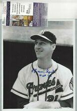 Warren Spahn Milwaukee Braves Autographed Baseball Geo Brace 8x10 Photo JSA COA