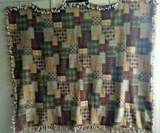 """Quilt Pattern Fleece Blanket Brown & Tan- Homemade -Pre-Owned- Approx. 55"""" x 60"""""""