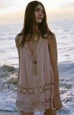 FP ONE Free People Costa Brava Mini Dress Crochet lace Inset FP One In Pink M