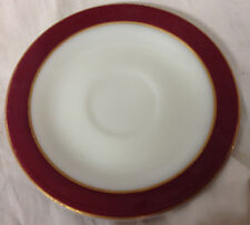PYREX USA WHITE MILK GLASS MAROON BAND SAUCER GOLD TRIM