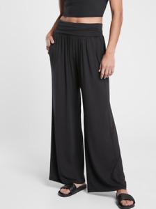 ATHLETA Studio Wide Leg Pant L TALL LT Black Yoga Pants #487419