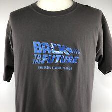 Universal Studios Back To The Future Raised Logo Shirt Large Gray Blue Tee