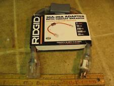 Ridgid 612ADAPT30R 30a-20a Adapter Cord w Circuit Breaker/Switch Generator