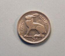 Ireland 3 Pence 1940 Nickel World Coin Rabbit Hare Irish Harp Eire 1/2 Reul