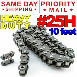 #25H Heavy Duty Roller Chain x 10 feet, Free Connecting Link + Same Day Shipping