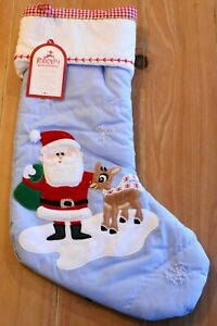 New Pottery Barn Kids QUILTED SANTA & RUDOLPH Christmas Holiday Stocking - Blue