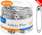 80 PCS Stainless Steel Safety Pins Steel Large Heavy Duty 2.2 Inch Nickel Finish