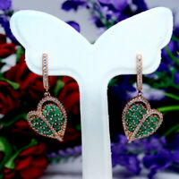 NATURAL GREEN EMERALD & WHITE CZ HEART EARRINGS 925 STERLING SILVER