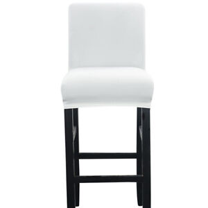 1/4/6pcs Bar Stool Chair Cover Short Back Dining Chair Slipcover Spandex Stretch