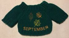 """Teddy Bear Doll Small Knit Sweater September Falling Leaves Leaf Autumn 5"""" Green"""