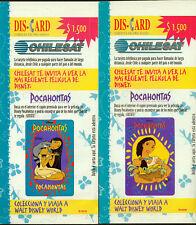 Disney Pocahontas Chilesat Phonecards - Set of 6, in original pouches, unopened