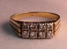 Gelbgold Ring massiv Herren Diamant Brillant in Weißgold 0.72 Carat 585 Gold