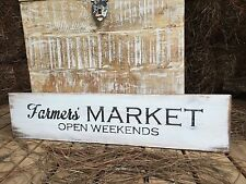 "Large Rustic Wood Sign - ""Farmer's Market Open Weekends"" Farm Life"