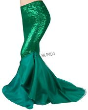 Women's Ladies Bodycon Fancy Party Costume Mermaid Tail Skirt Long Maxi Dress M