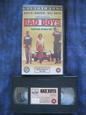 BAD BOYS VHS VIDEO. Cert. 18. Will Smith, Martin Lawrence. Widescreen.