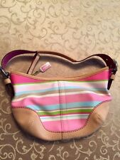 Coach Multi Colored Stripe Fabric Small Hobo Style No 1884