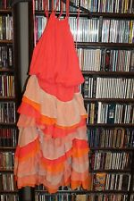 Chris Benz Lillian Halter Dress multi ruffle tier orange Coral sz 10  (B134)