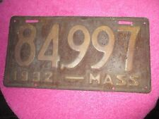1932 MASSACHUSETTS LICENSE PLATE NUMBER 84997 HOT RODS 32 FORD