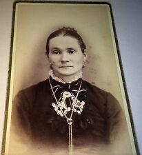Antique Victorian American Woman, ID'd Mrs. Freind! Bolo Tie! Michigan CDV Photo