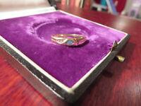 Eleganter 585 14 K Gold Ring Diamant Splitter Smaragd Grün Rille Modern Edel