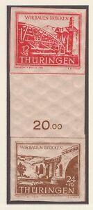 Thuringia - 1946 Mi. S Zd 2a y, Bridge Reconstruction, 12pf/24pf se-tenant