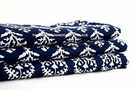 """44"""" Wide Indian Cotton Fabric Blue Floral Dressmaking Craft Supplies By 1 Metre"""