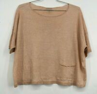 Eileen Fisher Womens Bateau Neck Organic Linen Boxy Top Scoop Neck Size Small
