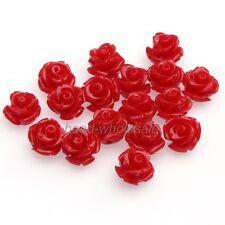 20PCS Red Nice Color Coral Rose Flower Shape Loose Chram Spacer Beads10mm