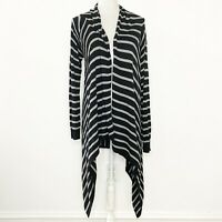 Shiraleah Size Small Cardigan Sweater Open Front Black Gray Striped Long Sleeves